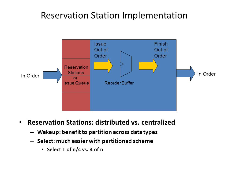 Reservation Station Implementation Reservation Stations: distributed vs.