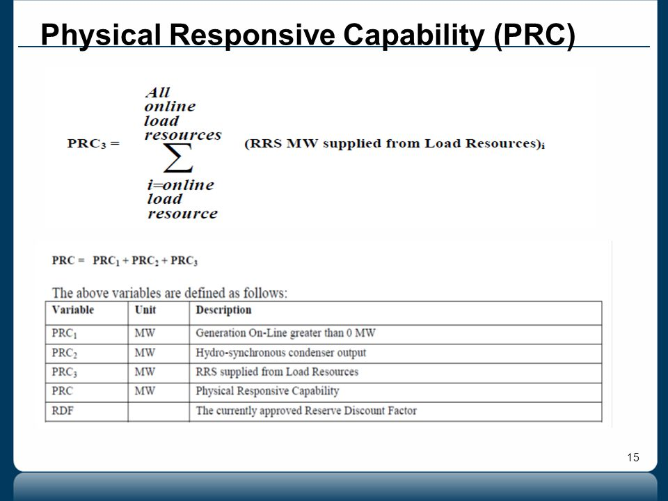15 Physical Responsive Capability (PRC)