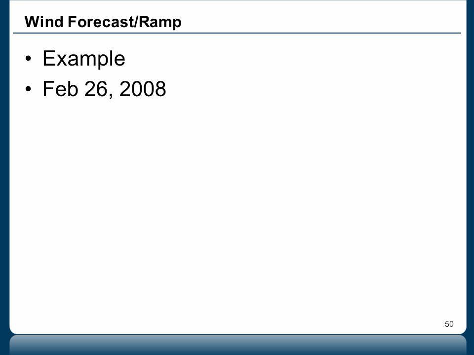 50 Example Feb 26, 2008 Wind Forecast/Ramp