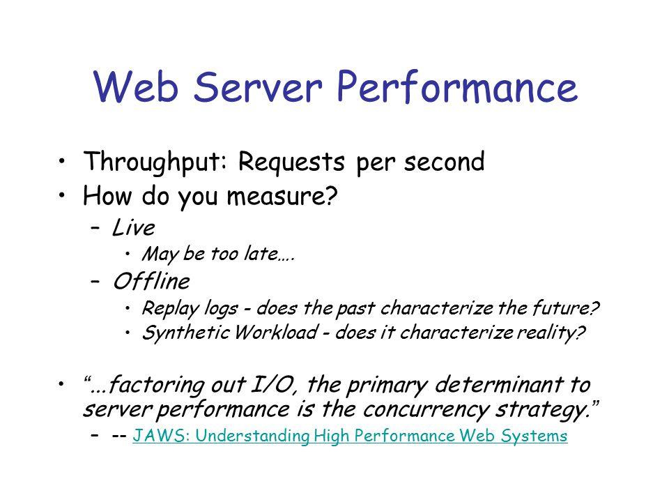 Web Server Performance Throughput: Requests per second How do you measure.