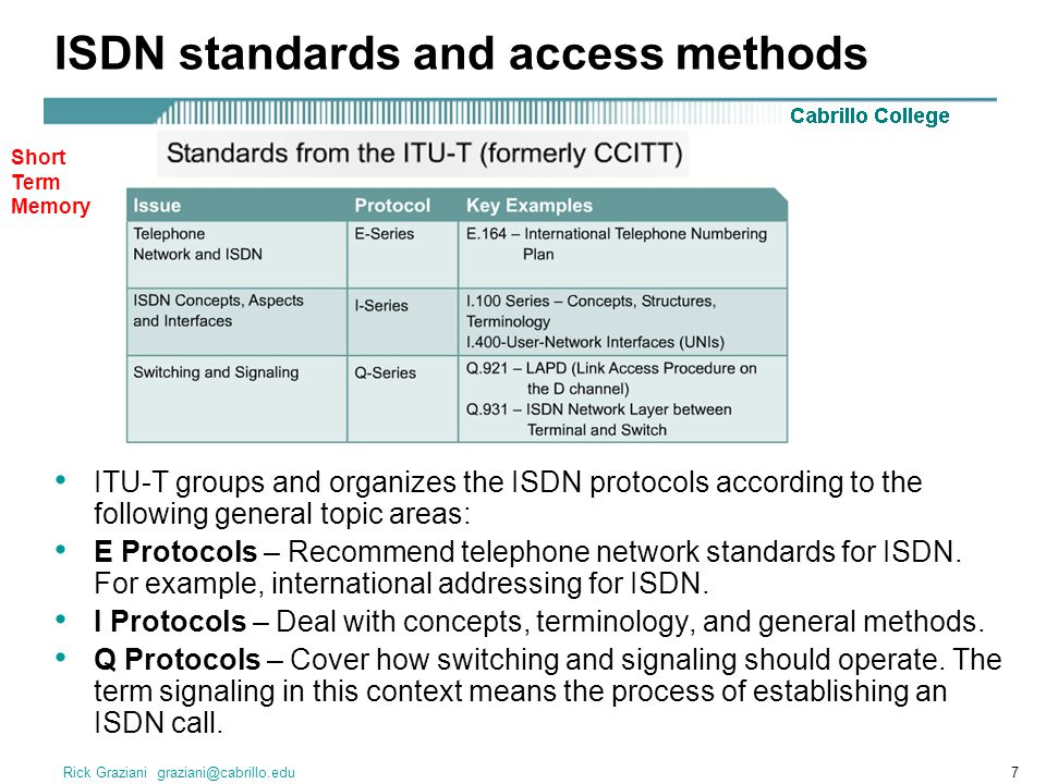 Rick Graziani graziani@cabrillo.edu7 ISDN standards and access methods ITU-T groups and organizes the ISDN protocols according to the following general topic areas: E Protocols – Recommend telephone network standards for ISDN.