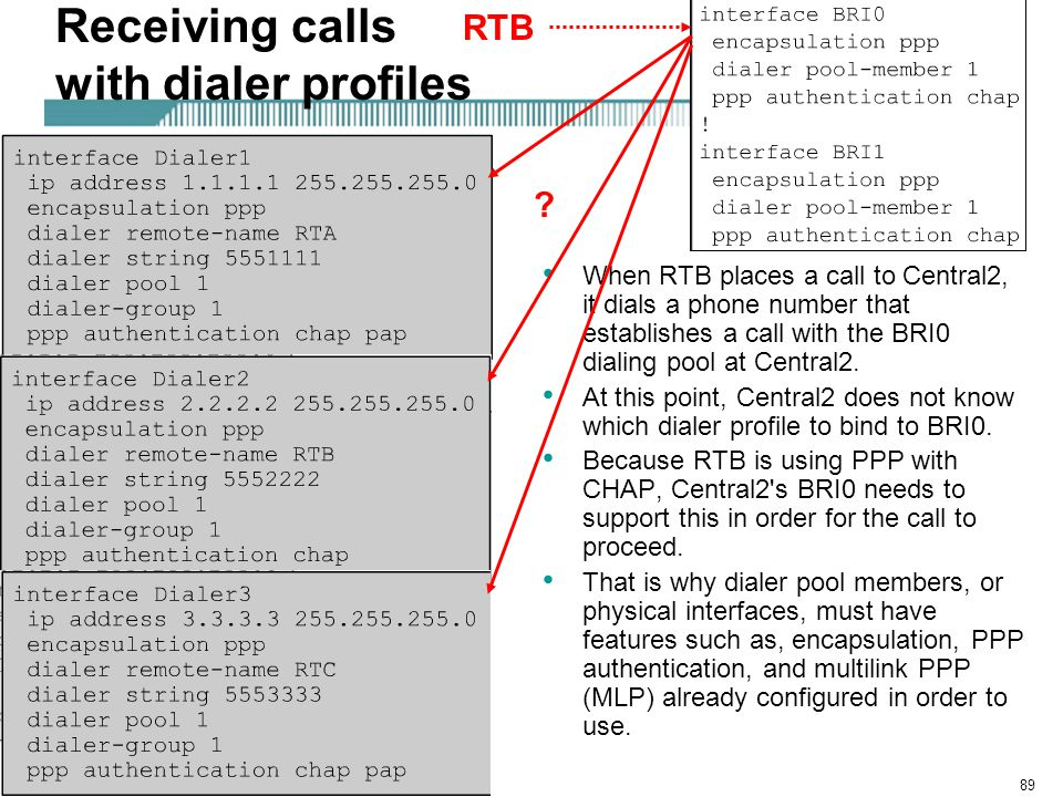 Rick Graziani graziani@cabrillo.edu89 Receiving calls with dialer profiles When RTB places a call to Central2, it dials a phone number that establishes a call with the BRI0 dialing pool at Central2.