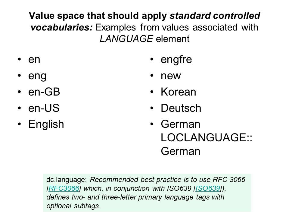 Value space that should apply standard controlled vocabularies: Examples from values associated with LANGUAGE element en eng en-GB en-US English engfr