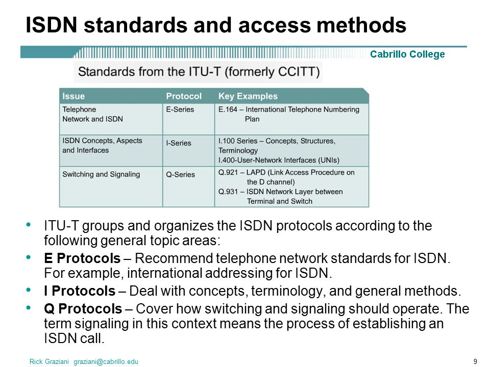 Rick Graziani graziani@cabrillo.edu9 ISDN standards and access methods ITU-T groups and organizes the ISDN protocols according to the following general topic areas: E Protocols – Recommend telephone network standards for ISDN.
