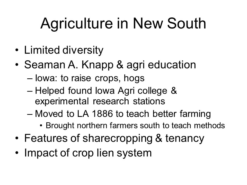 Agriculture in New South Limited diversity Seaman A.