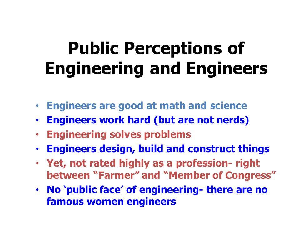 Public Perceptions of Engineering and Engineers Engineers are good at math and science Engineers work hard (but are not nerds) Engineering solves problems Engineers design, build and construct things Yet, not rated highly as a profession- right between Farmer and Member of Congress No 'public face' of engineering- there are no famous women engineers