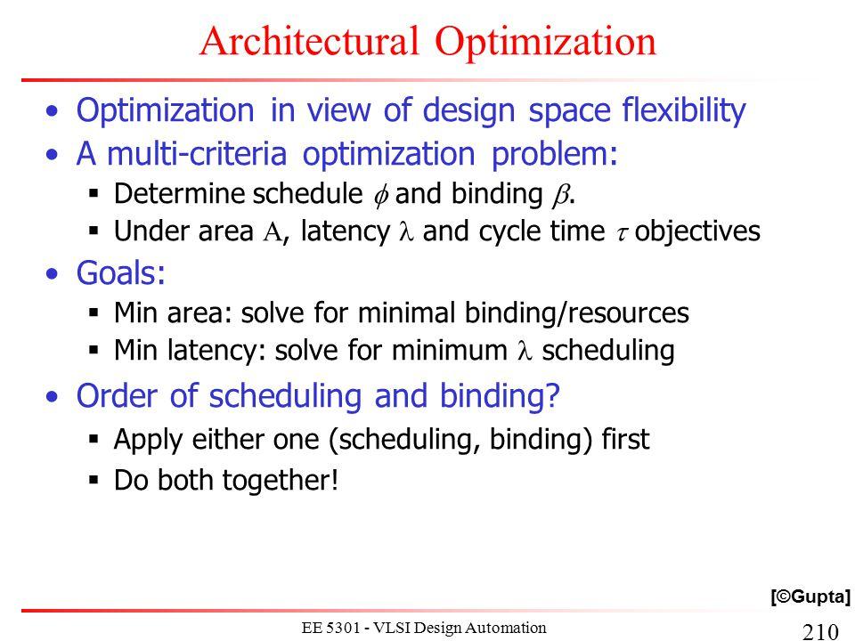 210 EE 5301 - VLSI Design Automation I Architectural Optimization Optimization in view of design space flexibility A multi-criteria optimization probl