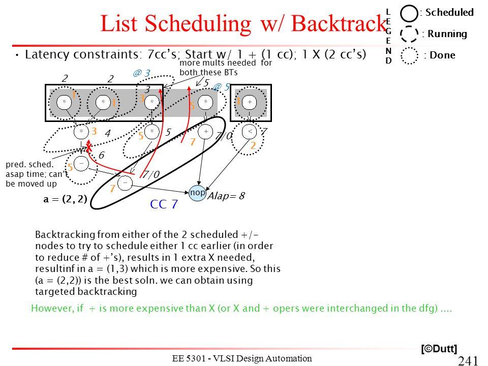 241 EE 5301 - VLSI Design Automation I List Scheduling w/ Backtrack Latency constraints: 7cc's; Start w/ 1 + (1 cc); 1 X (2 cc's) : Scheduled : Runnin