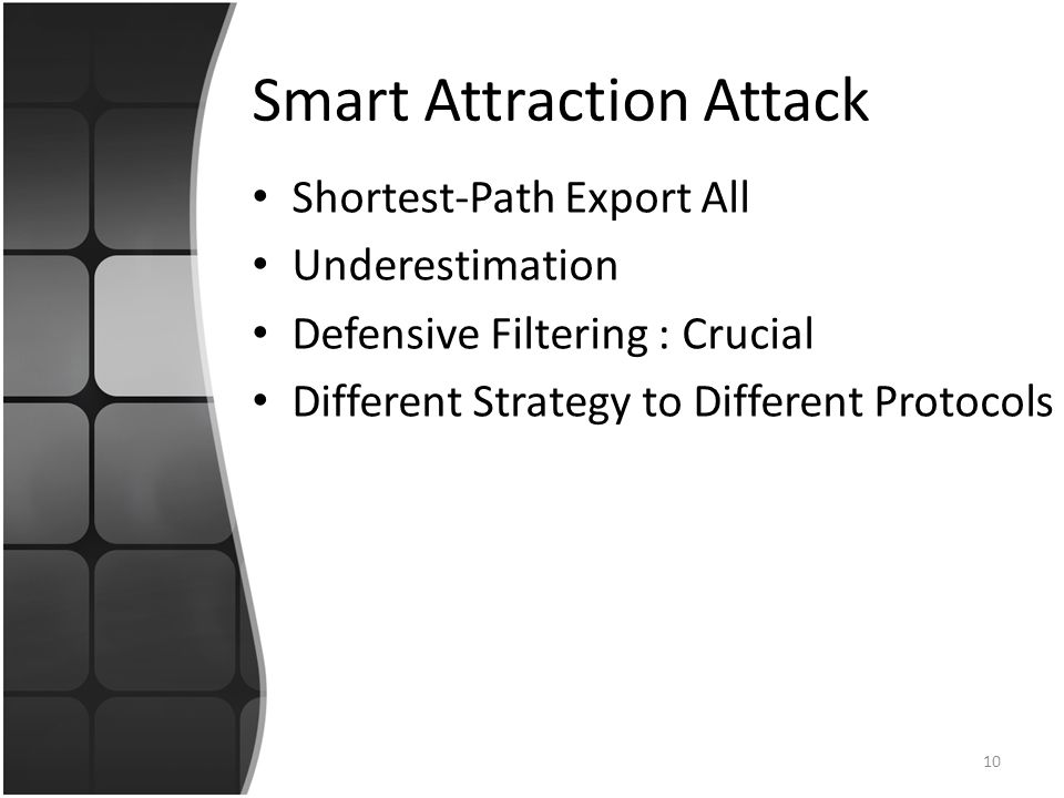 Smart Attraction Attack Shortest-Path Export All Underestimation Defensive Filtering : Crucial Different Strategy to Different Protocols 10
