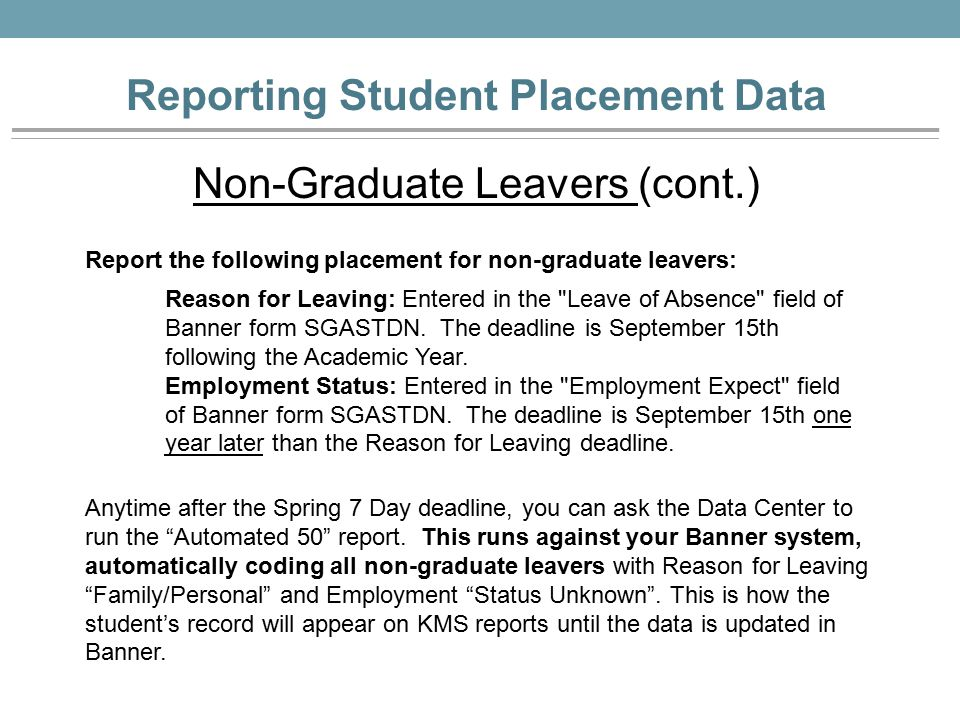 Reporting Student Placement Data Deadlines