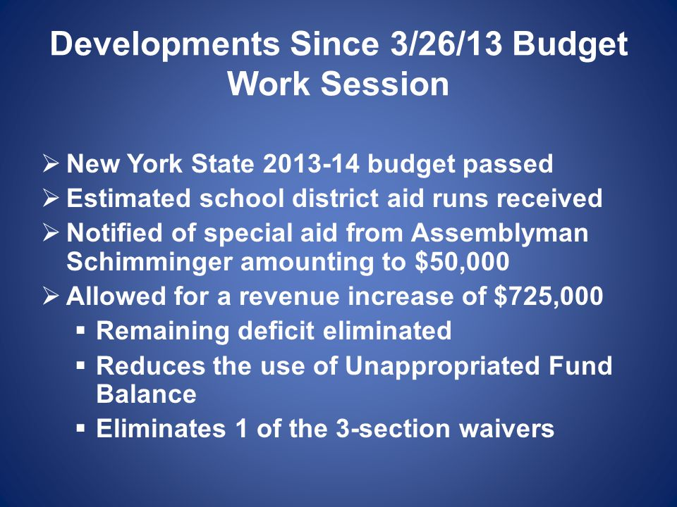 Developments Since 3/26/13 Budget Work Session  New York State 2013-14 budget passed  Estimated school district aid runs received  Notified of special aid from Assemblyman Schimminger amounting to $50,000  Allowed for a revenue increase of $725,000  Remaining deficit eliminated  Reduces the use of Unappropriated Fund Balance  Eliminates 1 of the 3-section waivers