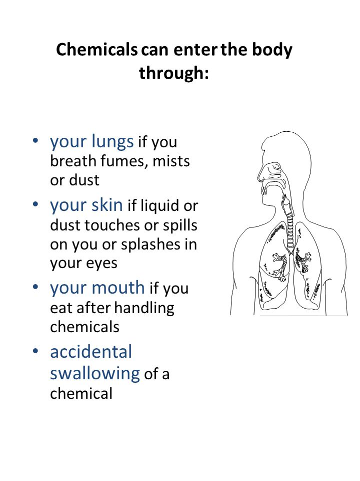 Chemicals can enter the body through: your lungs if you breath fumes, mists or dust your skin if liquid or dust touches or spills on you or splashes in your eyes your mouth if you eat after handling chemicals accidental swallowing of a chemical