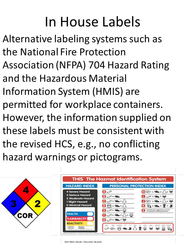 In House Labels Alternative labeling systems such as the National Fire Protection Association (NFPA) 704 Hazard Rating and the Hazardous Material Info