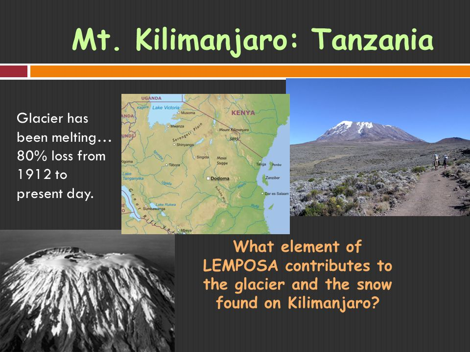Mt. Kilimanjaro: Tanzania Glacier has been melting… 80% loss from 1912 to present day.