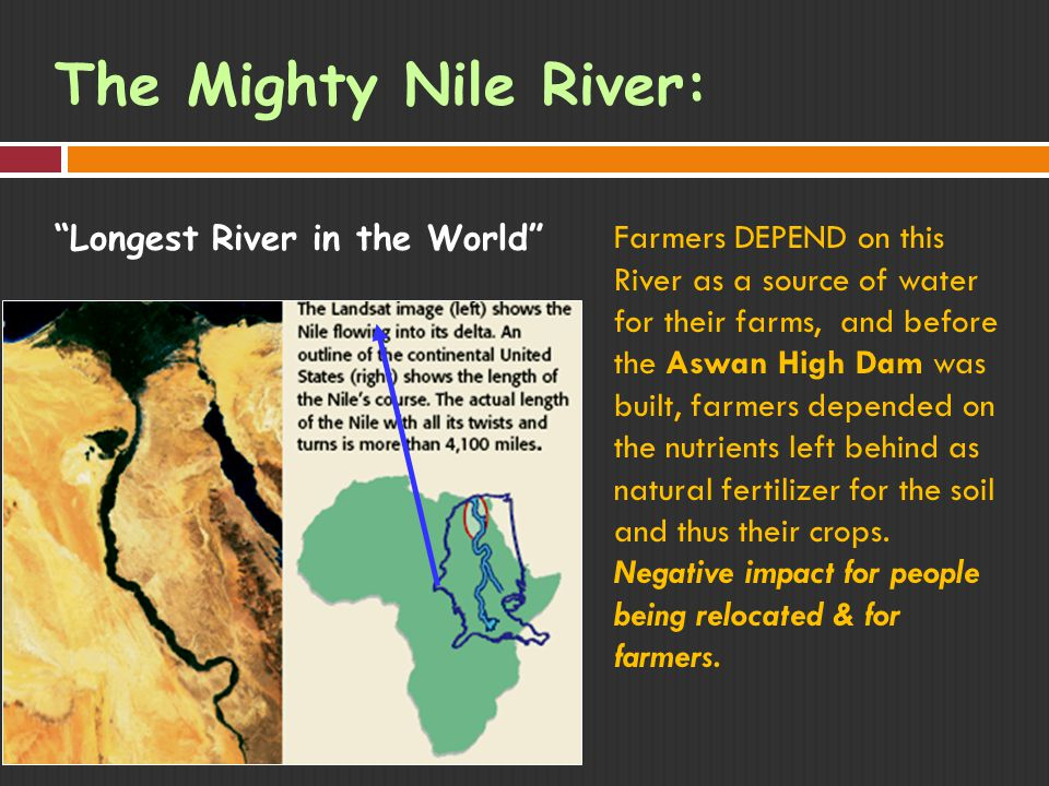 The Mighty Nile River: Longest River in the World Farmers DEPEND on this River as a source of water for their farms, and before the Aswan High Dam was built, farmers depended on the nutrients left behind as natural fertilizer for the soil and thus their crops.