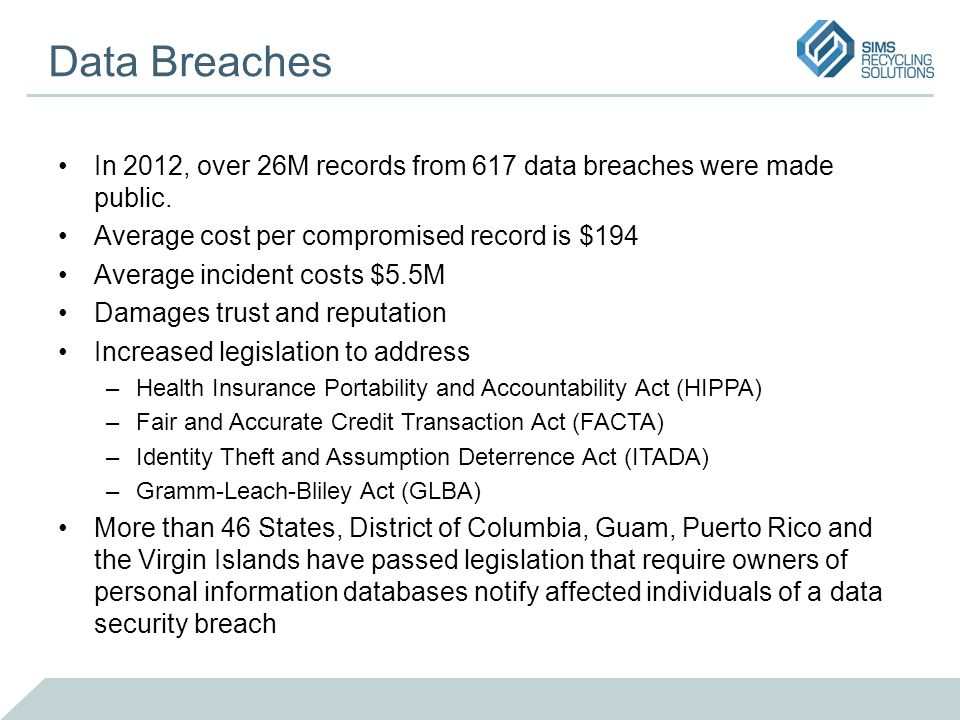 Data Breaches In 2012, over 26M records from 617 data breaches were made public. Average cost per compromised record is $194 Average incident costs $5