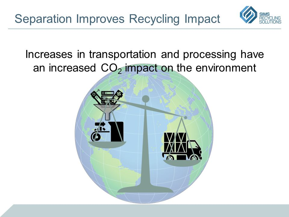 Separation Improves Recycling Impact Increases in transportation and processing have an increased CO 2 impact on the environment