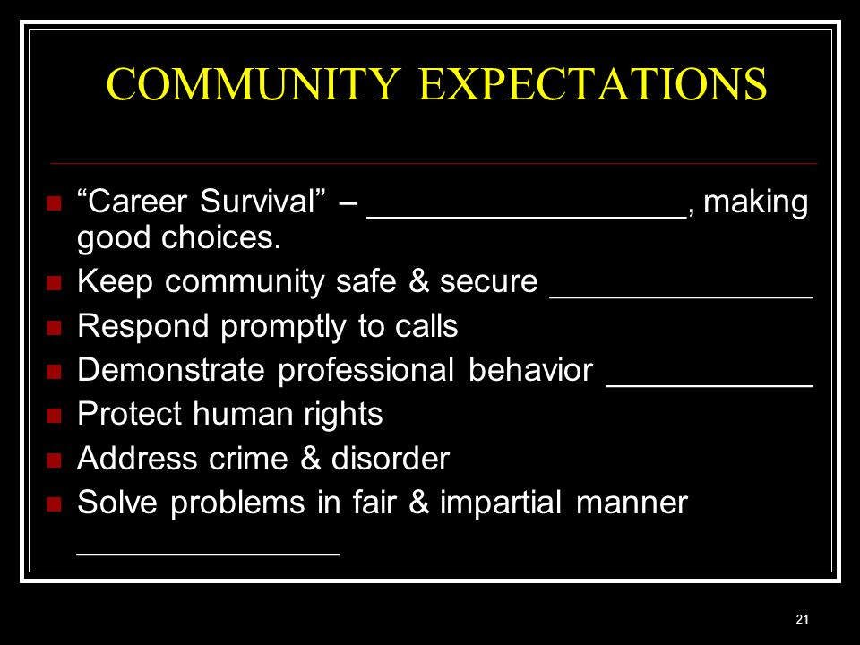 21 COMMUNITY EXPECTATIONS Career Survival – _________________, making good choices.