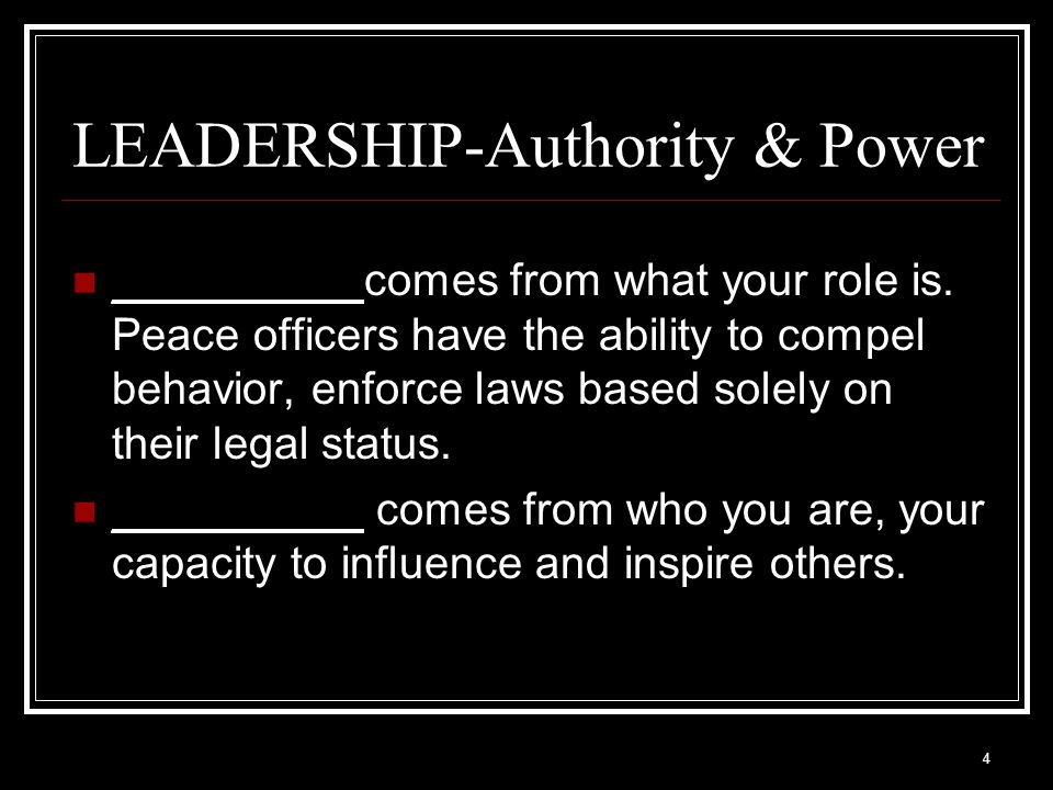 4 LEADERSHIP-Authority & Power __________comes from what your role is.
