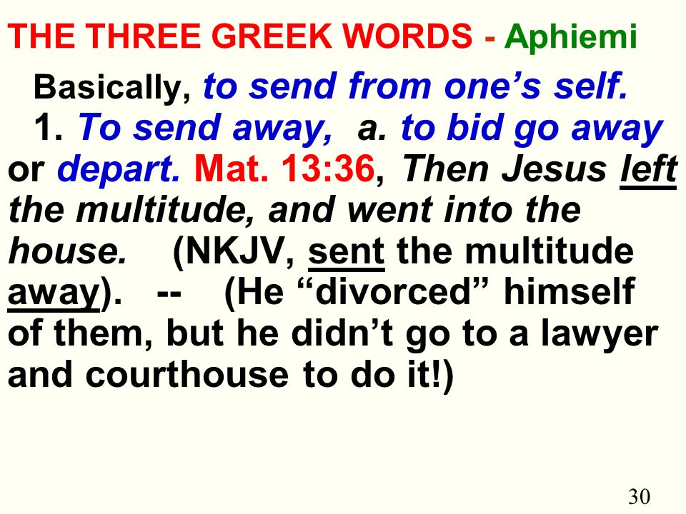 30 THE THREE GREEK WORDS - Aphiemi Basically, to send from one's self.