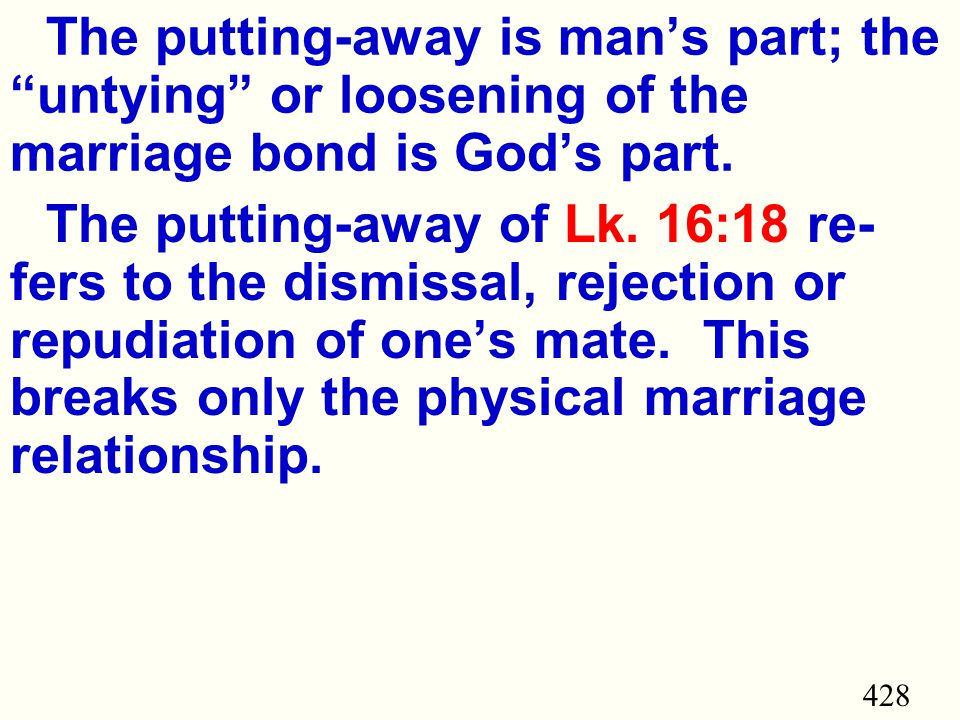 428 The putting-away is man's part; the untying or loosening of the marriage bond is God's part.
