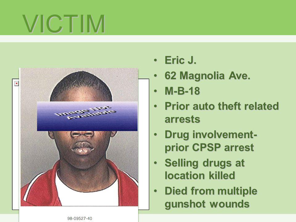 VICTIM Eric J.Eric J. 62 Magnolia Ave.62 Magnolia Ave.
