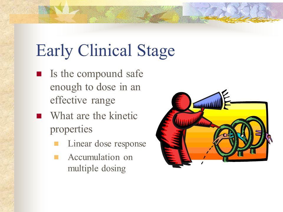 Early Clinical Stage Is the compound safe enough to dose in an effective range What are the kinetic properties Linear dose response Accumulation on mu