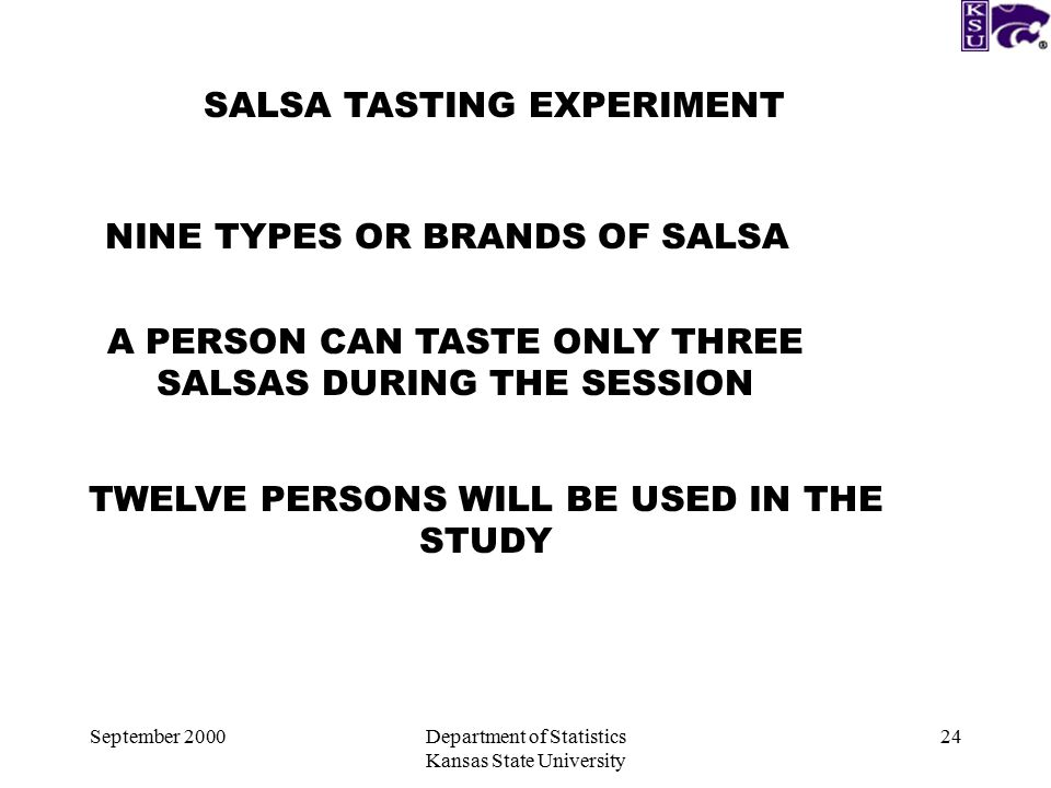 September 2000Department of Statistics Kansas State University 24 SALSA TASTING EXPERIMENT NINE TYPES OR BRANDS OF SALSA A PERSON CAN TASTE ONLY THREE SALSAS DURING THE SESSION TWELVE PERSONS WILL BE USED IN THE STUDY