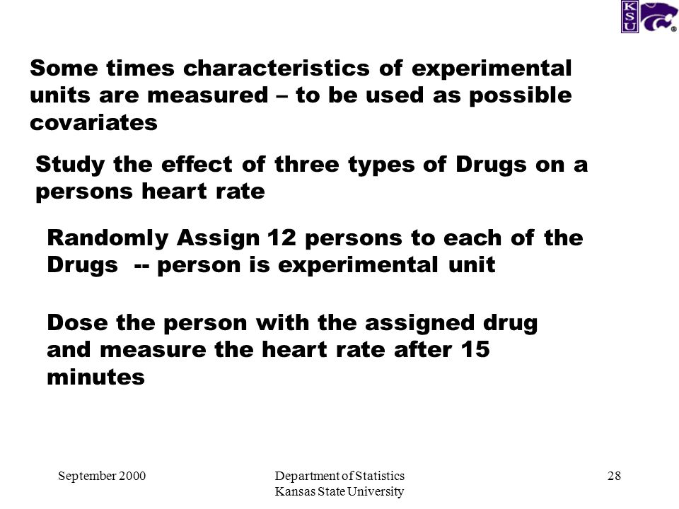 September 2000Department of Statistics Kansas State University 28 Some times characteristics of experimental units are measured – to be used as possible covariates Study the effect of three types of Drugs on a persons heart rate Randomly Assign 12 persons to each of the Drugs -- person is experimental unit Dose the person with the assigned drug and measure the heart rate after 15 minutes