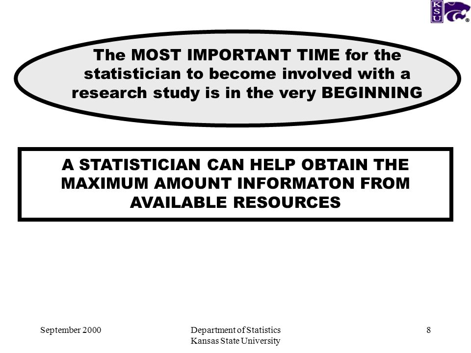 September 2000Department of Statistics Kansas State University 8 A STATISTICIAN CAN HELP OBTAIN THE MAXIMUM AMOUNT INFORMATON FROM AVAILABLE RESOURCES The MOST IMPORTANT TIME for the statistician to become involved with a research study is in the very BEGINNING