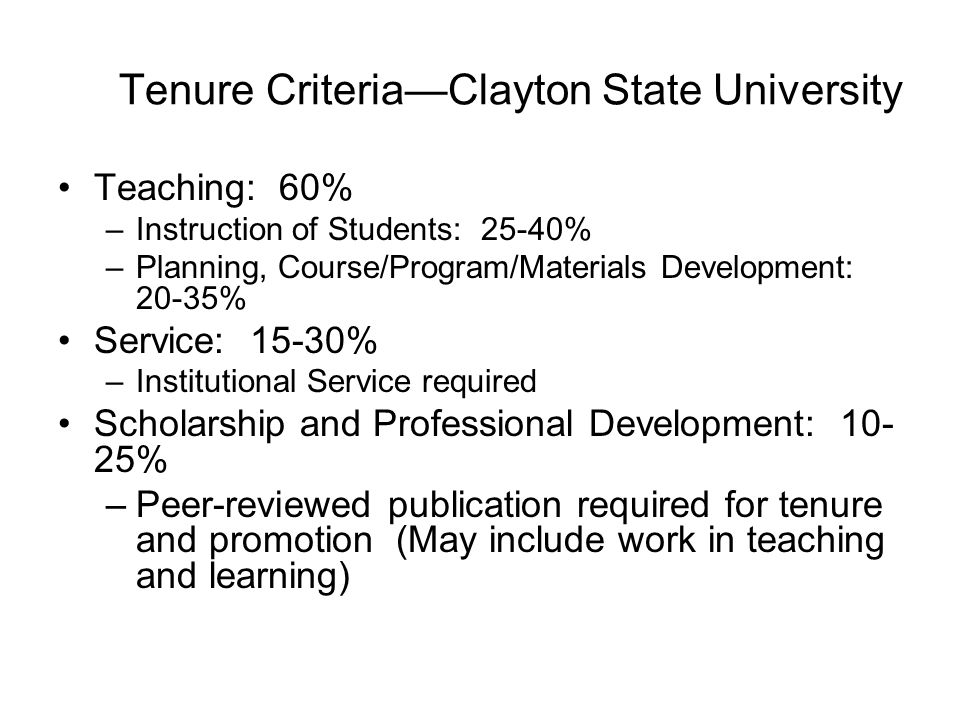 Tenure Criteria—Clayton State University Teaching: 60% –Instruction of Students: 25-40% –Planning, Course/Program/Materials Development: 20-35% Service: 15-30% –Institutional Service required Scholarship and Professional Development: 10- 25% –Peer-reviewed publication required for tenure and promotion (May include work in teaching and learning)