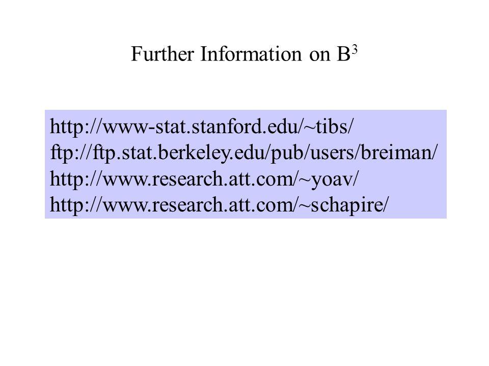 Further Information on B 3 http://www-stat.stanford.edu/~tibs/ ftp://ftp.stat.berkeley.edu/pub/users/breiman/ http://www.research.att.com/~yoav/ http://www.research.att.com/~schapire/