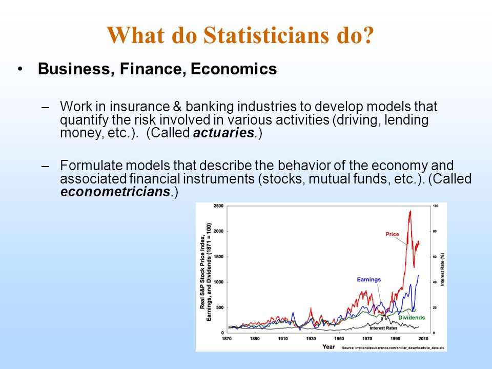 What do Statisticians do? Business, Finance, Economics –Work in insurance & banking industries to develop models that quantify the risk involved in va
