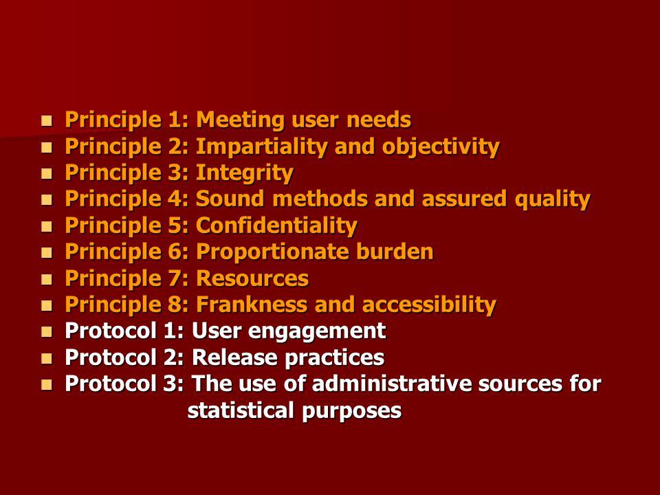 Principle 1: Meeting user needs Principle 1: Meeting user needs Principle 2: Impartiality and objectivity Principle 2: Impartiality and objectivity Pr