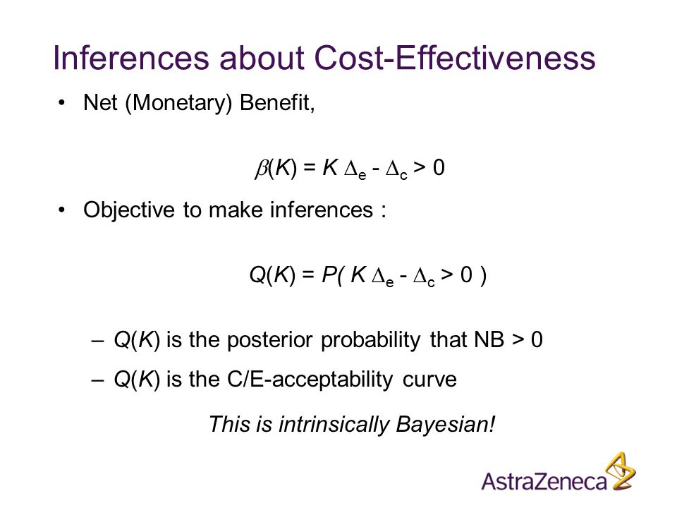 Inferences about Cost-Effectiveness Net (Monetary) Benefit,  (K) = K  e -  c > 0 Objective to make inferences : Q(K) = P( K  e -  c > 0 ) –Q(K) is the posterior probability that NB > 0 –Q(K) is the C/E-acceptability curve This is intrinsically Bayesian!