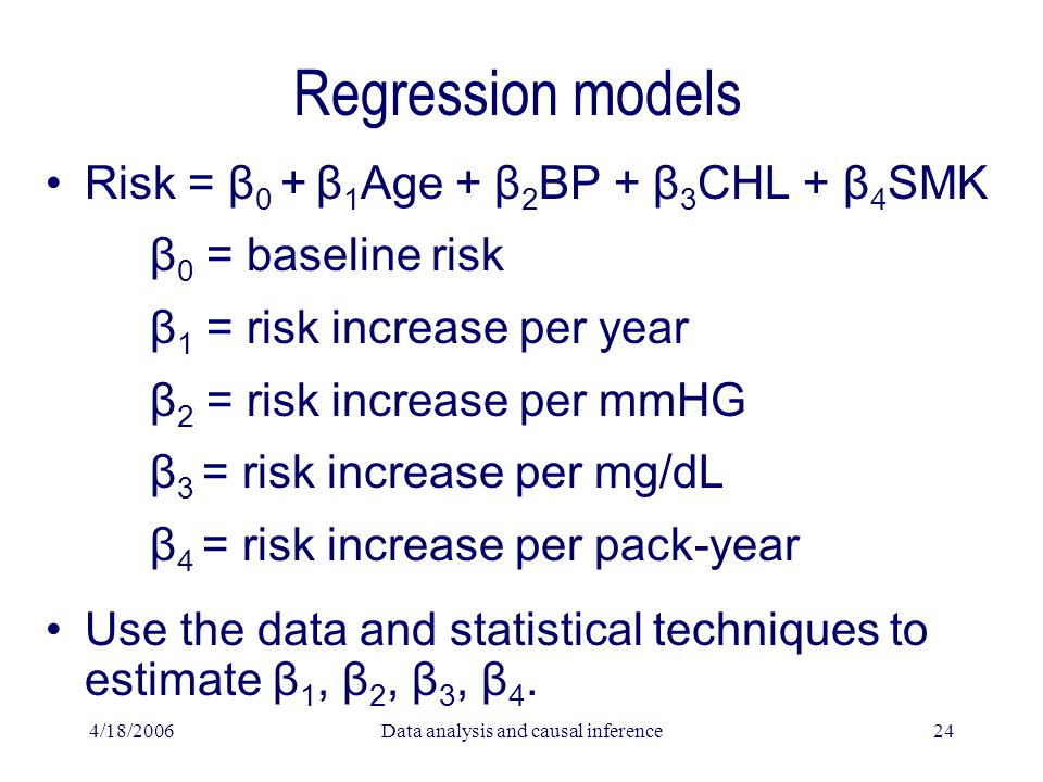 4/18/2006Data analysis and causal inference24 Regression models Risk = β 0 + β 1 Age + β 2 BP + β 3 CHL + β 4 SMK β 0 = baseline risk β 1 = risk increase per year β 2 = risk increase per mmHG β 3 = risk increase per mg/dL β 4 = risk increase per pack-year Use the data and statistical techniques to estimate β 1, β 2, β 3, β 4.