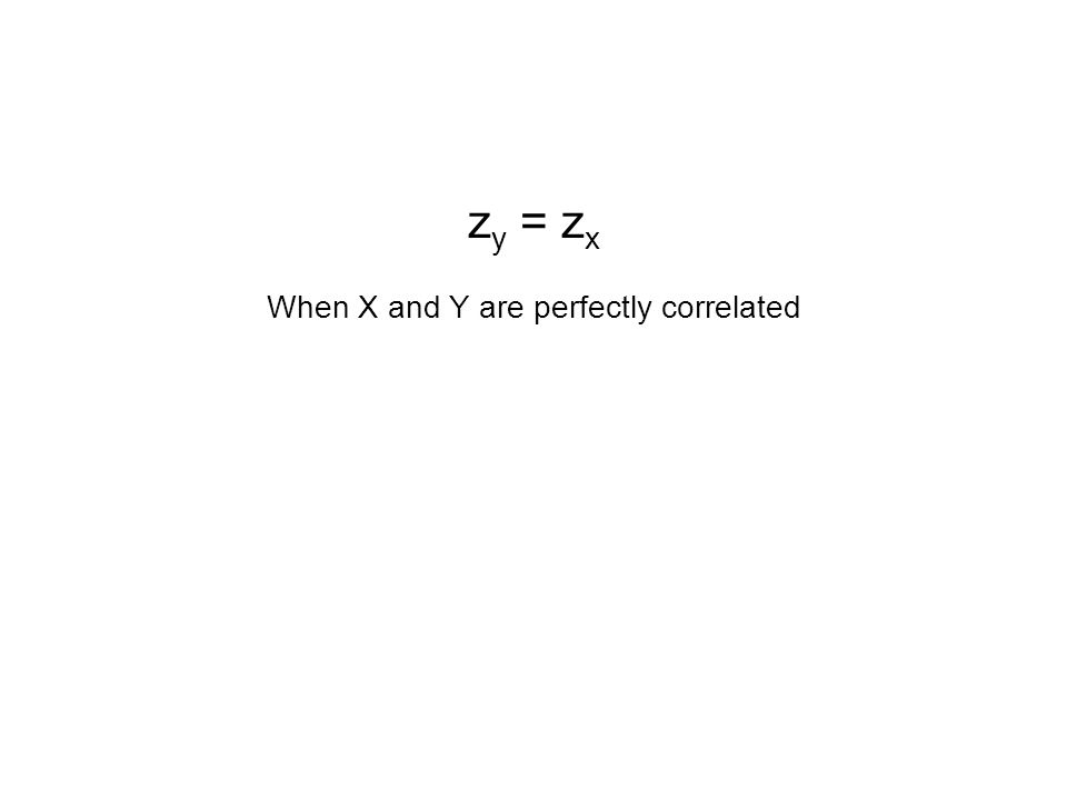 z y = z x When X and Y are perfectly correlated