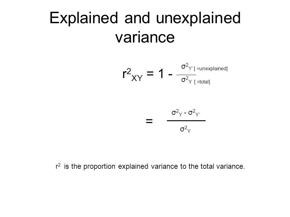 Explained and unexplained variance r 2 XY = 1 - σ 2 Y' [ =unexplained] σ 2 Y [ =total] = σ 2 Y - σ 2 Y' σ2Yσ2Y r 2 is the proportion explained variance to the total variance.