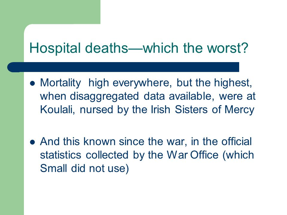 Hospital deaths—which the worst.