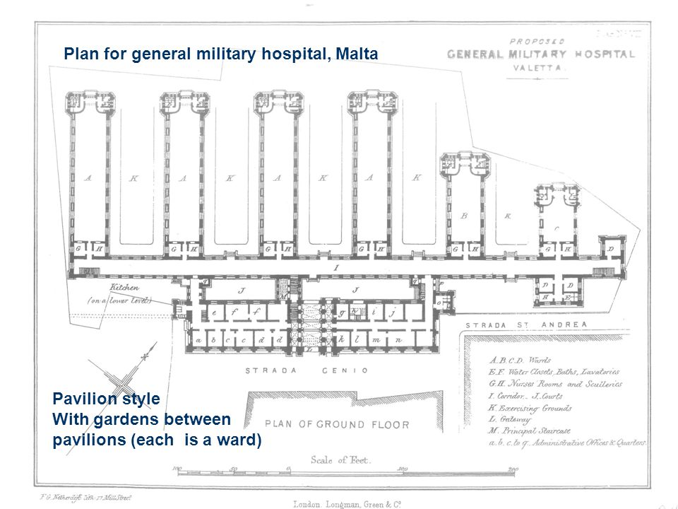 Plan for general military hospital, Malta Pavilion style With gardens between pavilions (each is a ward)