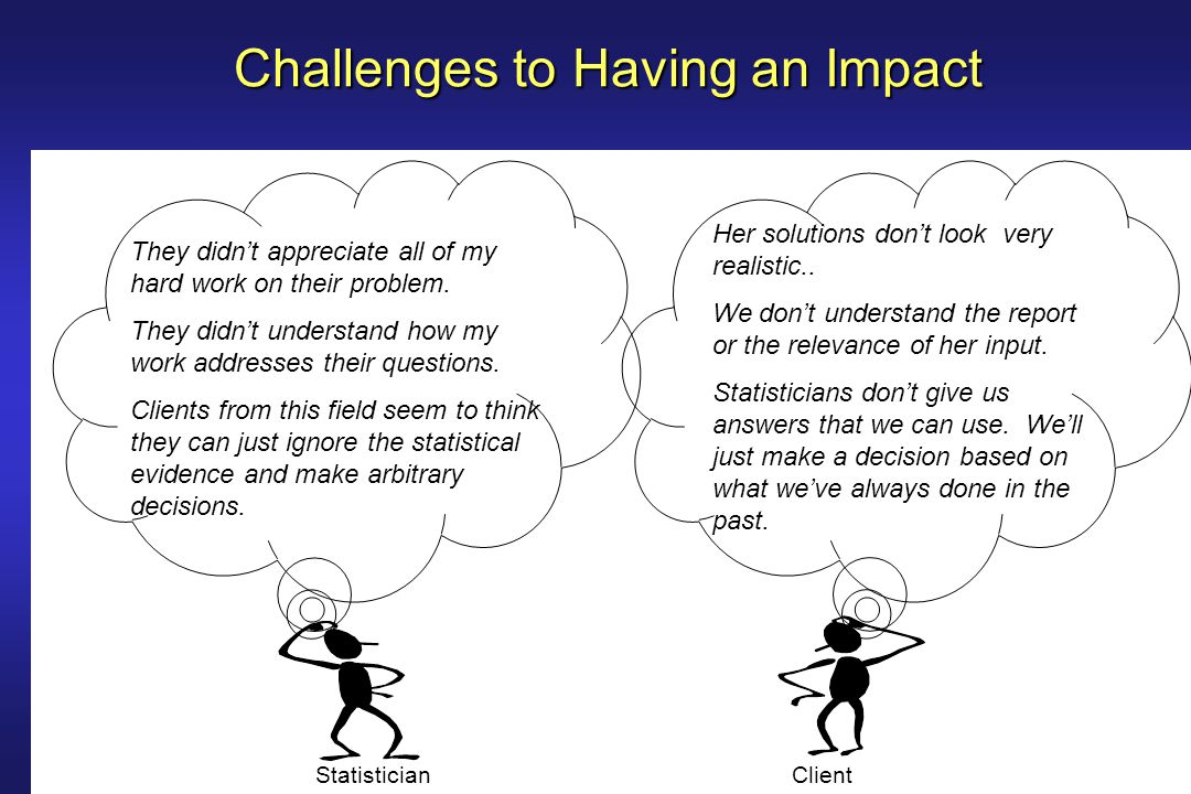 Challenges to Having an Impact 1.Role of the statistician 2.Communication skills 3.Strategic issues