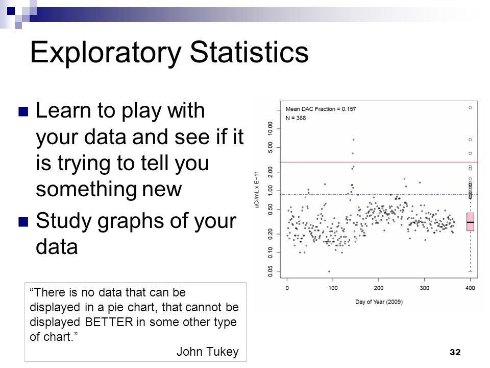 32 Exploratory Statistics Learn to play with your data and see if it is trying to tell you something new Study graphs of your data There is no data that can be displayed in a pie chart, that cannot be displayed BETTER in some other type of chart. John Tukey