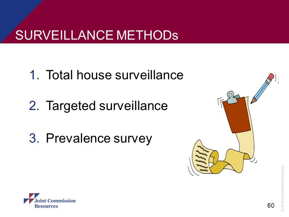 © Joint Commission Resources 60 SURVEILLANCE METHODs 1.Total house surveillance 2.Targeted surveillance 3.Prevalence survey