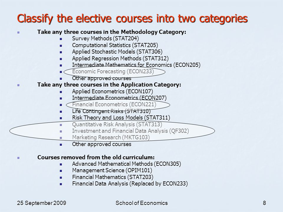25 September 2009School of Economics8 Classify the elective courses into two categories Take any three courses in the Methodology Category: Take any t