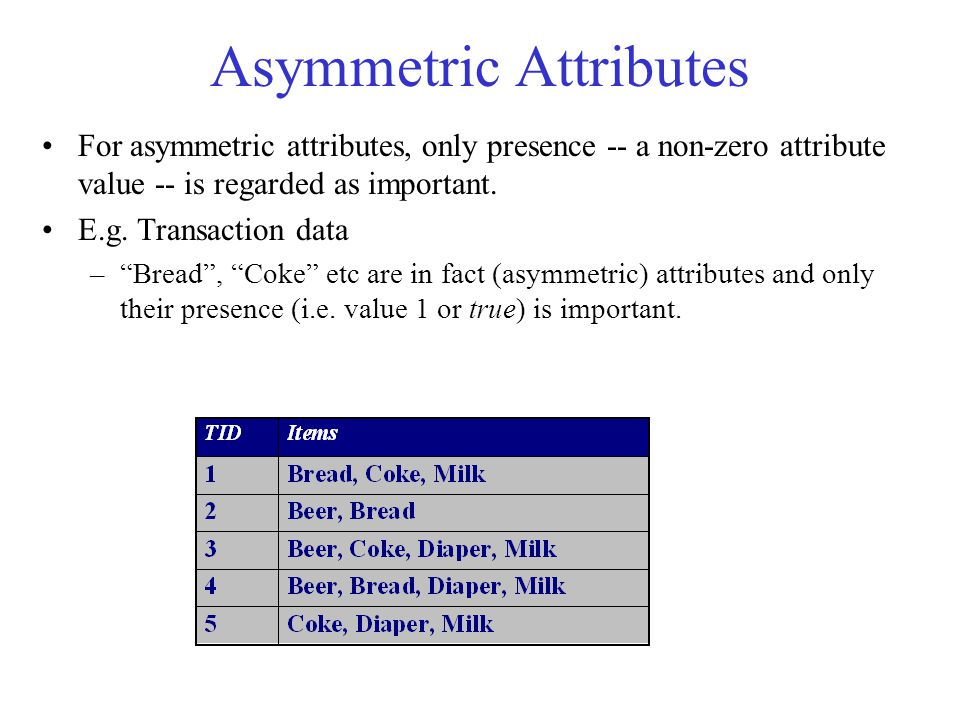 Asymmetric Attributes For asymmetric attributes, only presence -- a non-zero attribute value -- is regarded as important.