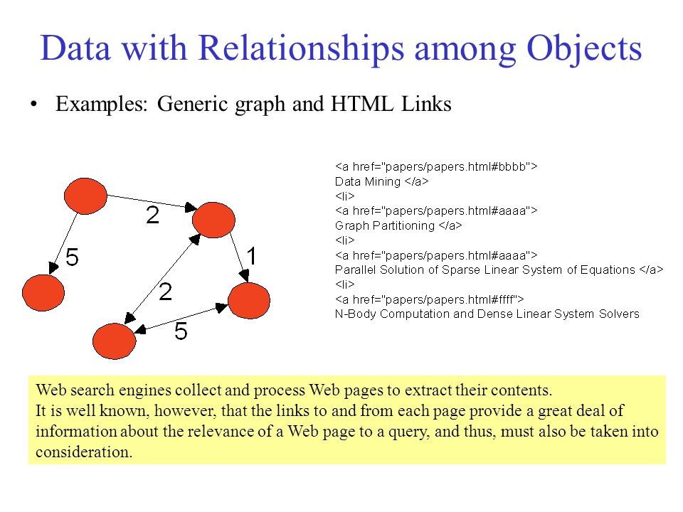 Data with Relationships among Objects Examples: Generic graph and HTML Links Web search engines collect and process Web pages to extract their contents.