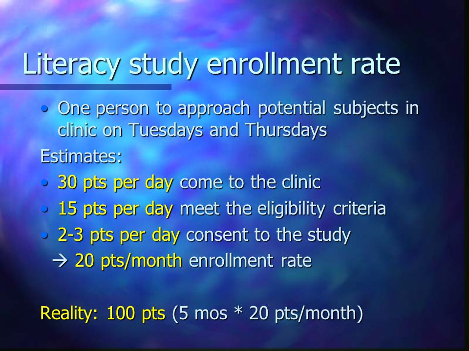 Literacy study enrollment rate One person to approach potential subjects in clinic on Tuesdays and ThursdaysOne person to approach potential subjects in clinic on Tuesdays and ThursdaysEstimates: 30 pts per day come to the clinic30 pts per day come to the clinic 15 pts per day meet the eligibility criteria15 pts per day meet the eligibility criteria 2-3 pts per day consent to the study2-3 pts per day consent to the study  20 pts/month enrollment rate  20 pts/month enrollment rate Reality: 100 pts (5 mos * 20 pts/month)