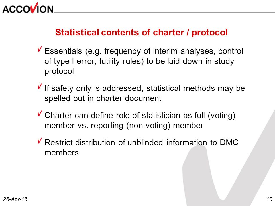 26-Apr-1510 Statistical contents of charter / protocol Essentials (e.g.