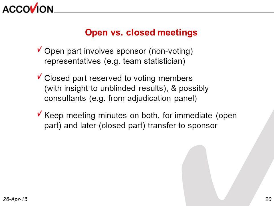 26-Apr-1520 Open vs. closed meetings Open part involves sponsor (non-voting) representatives (e.g.