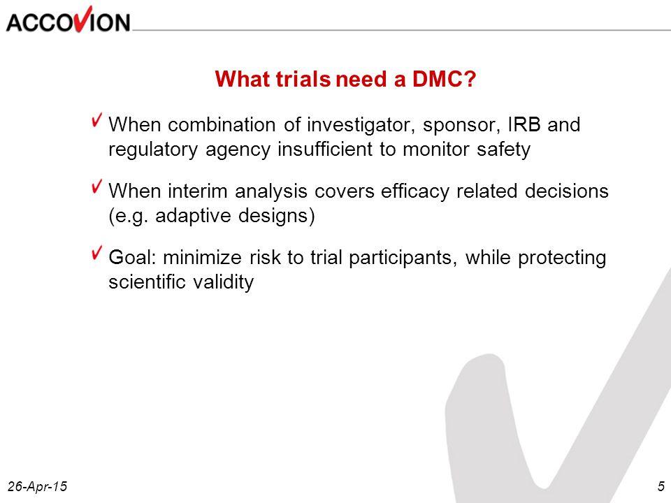 26-Apr-155 What trials need a DMC.